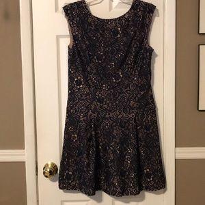 Cece navy and rose gold lace slvls dress